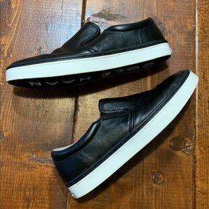 Cole Haan Black Leather Slip on Sneakers